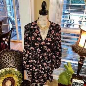 Jodifl black floral tunic with bell sleeves